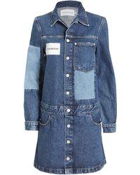 Calvin Klein - Denim Shirt Dress With Contrast - Lyst
