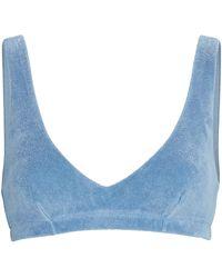 DONNI. Terry Cotton-blend Bralette - Blue