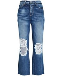 L'Agence Adele Distressed Stovepipe Jeans - Blue