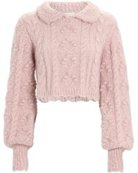 LoveShackFancy Berget Cropped Cable Knit Sweater - Pink