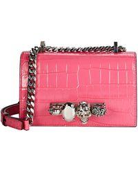 Alexander McQueen Mini Jewelled Croc-embossed Satchel - Pink