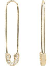 Sydney Evan Pavé Diamond Safety Pin Earrings - Metallic