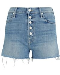 Mother The Pixie Fray Shorts - Blue
