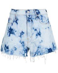 Mother The Tomcat Kick Fray Denim Shorts - Blue