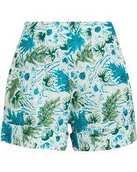 Cult Gaia Shadi Tropical-print Linen Shorts - Blue