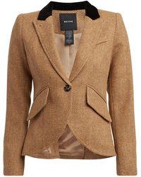 Smythe Velvet-trimmed Herringbone Wool Blazer - Brown