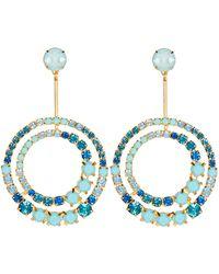 Elizabeth Cole Gia Crystal Circle Drop Earrings - Blue