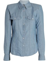Veronica Beard Crawford Padded Shoulder Chambray Shirt - Blue