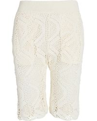 Helmut Lang Crochet Cotton-blend Bike Shorts - White