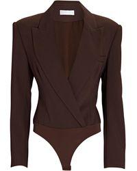 Jonathan Simkhai Athena Crepe Blazer Bodysuit - Brown