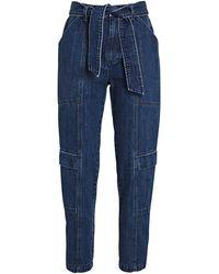 J Brand Athena Cropped Paperbag Jeans - Blue