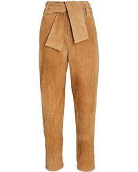 Intermix Carson Suede Tie-front Pants - Natural