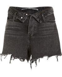 Alexander Wang Bite Flip High-waist Shorts - Gray