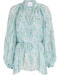 Acler Astone Pleated Floral Chiffon Blouse - Blue