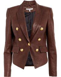Veronica Beard Cooke Leather Dickey Blazer - Brown