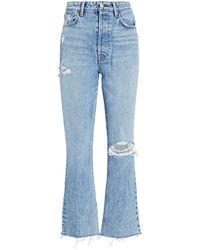 GRLFRND Karolina Distressed Straight-leg Jeans - Blue