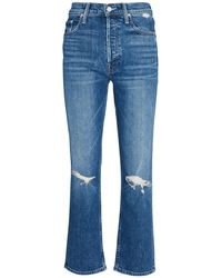 Mother The Tomcat Distressed Cropped Jeans - Blue