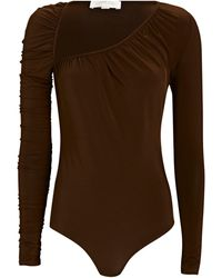 Ronny Kobo Maxima Asymmetric Slinky Jersey Bodysuit - Brown