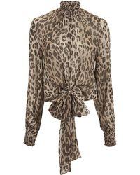 Nicholas - Mock Neck Leopard Blouse - Lyst