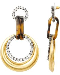 Elizabeth Cole - Mila Circle Drop Earrings Gold/crystal 1size - Lyst