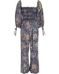 Cara Cara Jazzy Cropped Smock Floral Jumpsuit - Multicolour