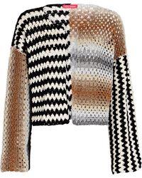 Rose Carmine Striped Crochet Cropped Cardigan - Multicolour