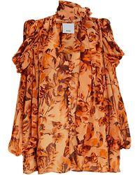 Acler Swansea Floral Tie-neck Blouse - Orange