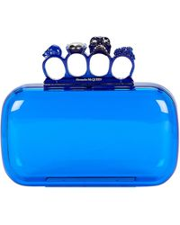 Alexander McQueen Four Ring Pvc Box Clutch - Blue