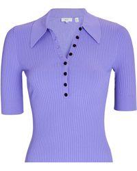 A.L.C. Amari Rib Knit Polo Top - Purple