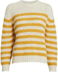 Mother The Striped Alpaca-blend Sweater - Yellow