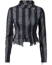 Marques'Almeida - Asymmetric Striped Biker Jacket - Lyst