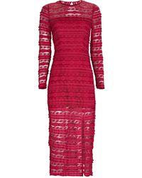 Saylor Suzie Open Back Lace Midi Dress - Red