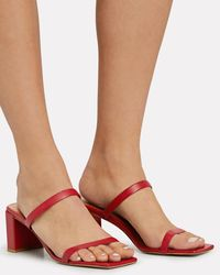 BY FAR 60mm Tanya Leather Sandals - Red