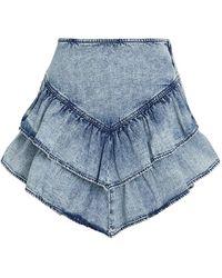 Mother Ruffled Denim Mini Skirt - Blue