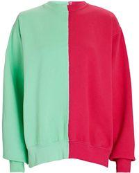 LA DETRESSE Half/half Colorblock Sweatshirt - Green