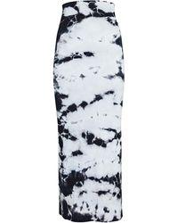 Enza Costa Tie-dye Rib Knit Midi Pencil Skirt - Black
