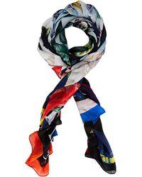 Alexander McQueen Still Life Silk Shawl - Blue
