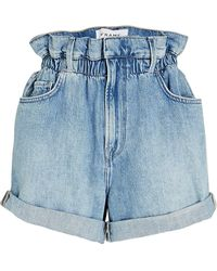 FRAME Cuffed Paperbag Shorts - Blue