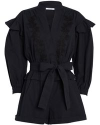 10 Crosby Derek Lam Embroidered Puff Sleeve Romper - Black