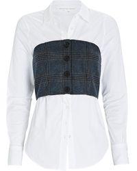 Veronica Beard Miki Bustier Button-down Shirt - Gray