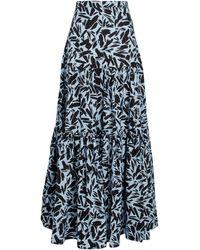 Veronica Beard Serence Faille Maxi Skirt - Blue