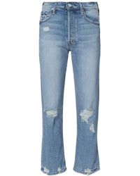 Mother Tomcat Distressed Cropped Jeans - Blue