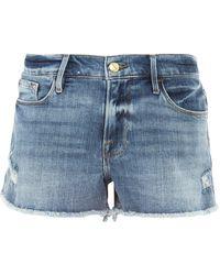 FRAME Le Cut-off Denim Shorts - Blue
