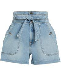 FRAME Triple Tie Waist Denim Shorts - Blue