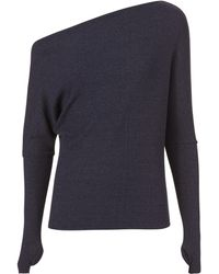 Enza Costa - Off Shoulder Thumbhole Navy Sweater - Lyst