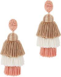 Oscar de la Renta - Grapefruit Long Silk Tiered Tassel Earrings - Lyst