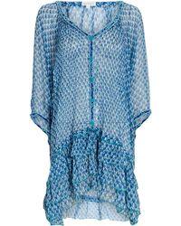 Poupette Nava Printed Chiffon Poncho Dress - Blue