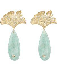 APPLES & FIGS Onyx Leaf Earrings - Blue