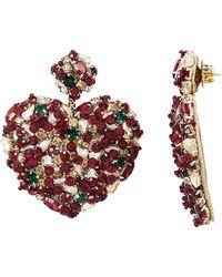 Deepa Gurnani - Heart Crystal Earrings - Lyst