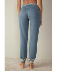 Intimissimi Sporty Elegance Pants In Plush Modal - Blue